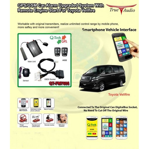 Q Tech Qt Fm7605 Gps Car Alarm Upgraded System With Remote